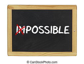 Impossible written on a blackboard