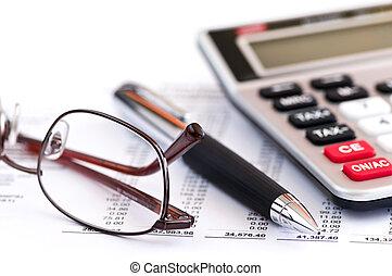 imposto, calculadora, caneta, óculos