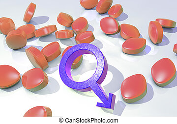 Impotence treatment concept. 3D illustration showing male...