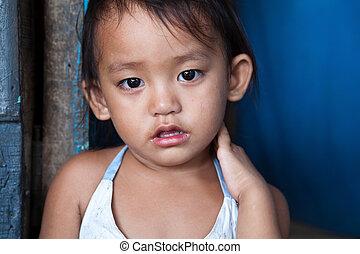 Impoverished girl portrait