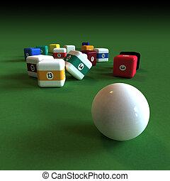 Impractical billiard - Cubic billiard balls against a green ...
