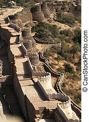 Impregnable Fortress - Massive ramparts of Kumbhalgarh Fort...