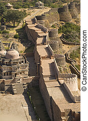 Impregnable Fortress - Massive ramparts of Kumbhalgarh Fort,...