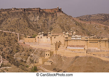 Impregnable Indian Fortress - Panoramic view of Amber Fort...