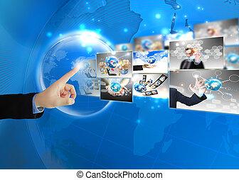 imprensa, homem negócios, .technology, conceito, mundo