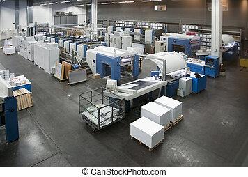 imprensa, imprimindo, -, offset, máquina