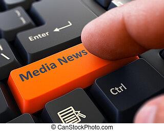 imprensas, mídia, botão, dedo, teclado, laranja, news.
