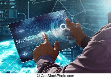 imprensas, tabuleta, botão, business., virtual, concept.businessman, investigação, internet., futuro, tecnologia, tela, date.