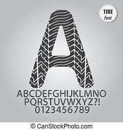 impresión, alfabeto, dígito, vector, neumático