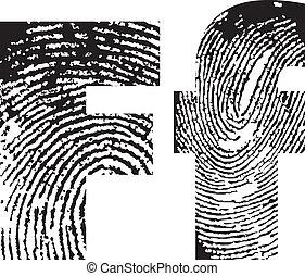 impresión, alfabeto, dedo