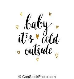 impresión, bebé, frío, vector, él, exterior, s