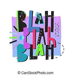impresión, blah, cita, camisa, letras