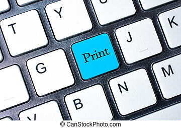 impresión, botón, blanco, ordenador teclado