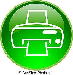 impresión, botón, verde