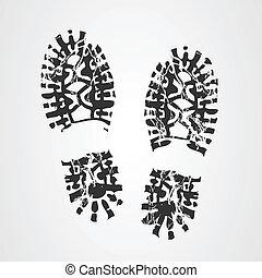 impresión, bota