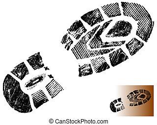 impresión, bota, grungy, 2