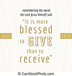 impresión, cita, él, más, o, blesses, que, recibir, biblia, ...