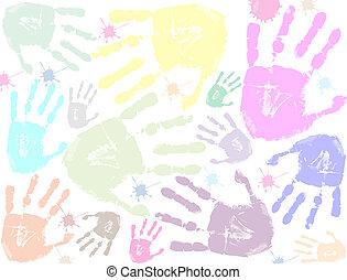 impresión, colorido, plano de fondo, mano