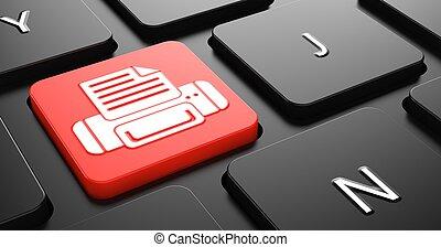 impresión, concepto, en, rojo, teclado, button.