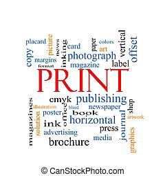 impresión, concepto, palabra, nube