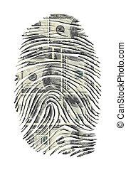 impresión, dólares, dedo, nosotros