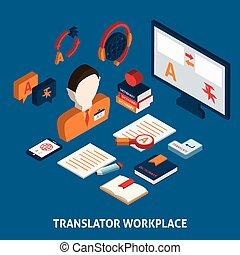 impresión, diccionario, traducción, cartel, isométrico
