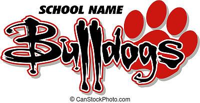 impresión, diseño, bulldogs, pata
