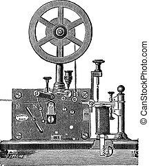impresión, eléctrico, telégrafo, receptor, vendimia, grabado