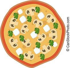 impresión, feta, hongo, pizza