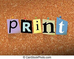 impresión, fijado, concepto, papel, ilustración