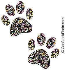 impresión, fondo blanco, animal, pata