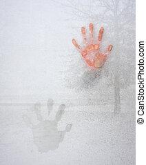 impresión, helado, mano, ventana de cristal, frío