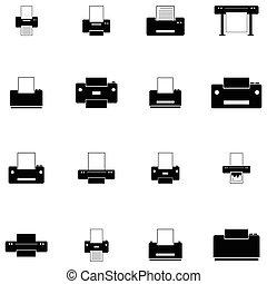 impresión, icono, conjunto