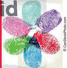 impresión, id., vector, dedo, ilustración