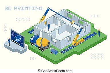 impresión, ilustración, industrial, 3d, colorido, vector