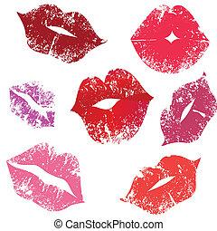 impresión, labios, beso