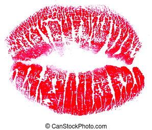 impresión, labios, rojo, beso