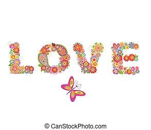 impresión, love., flores