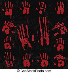 impresión, mano, 02, sangriento, conjunto, elemento