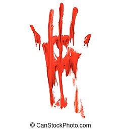 impresión, mano, sangriento