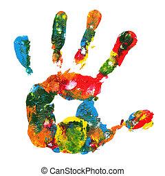 impresión, multicolor, mano
