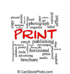 impresión, palabra, nube, concepto, en, rojo, tapas