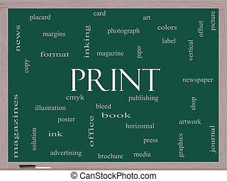 impresión, palabra, nube, concepto, en, un, pizarra