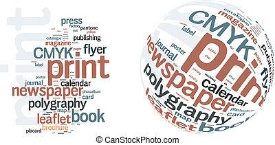 impresión, palabra, nube