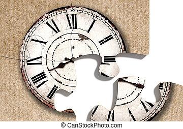 impresión, pasado de moda, pedazos, rompecabezas, reloj