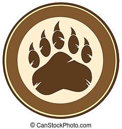 impresión, pata, diseño, círculo, oso, etiqueta