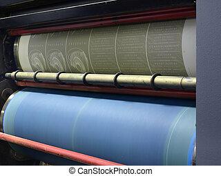 impresión, placa, en, un, compensación, imprenta