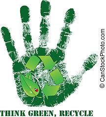 impresión, reciclar, mano, icono