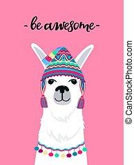 impresión, ser, cita, infantil, sombrero, camiseta, cartel, guardería infantil, awesome., alpaca, diversión, tassels.