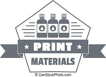 impresión, simple, estilo, materiales, logotipo
